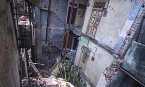 Dilapidated buildings in Bhendi Bazaar, south Mumbai.