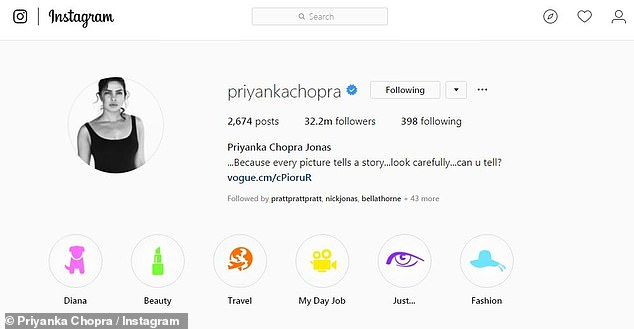 She's a Jonas! The 36-year-old actress is now 'Priyanka Chopra Jonas' on Instagram but her username hasn't changed