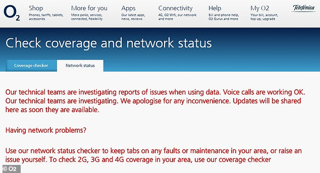 An O2 spokesman said on its service status website today that voice calls are 'working OK'