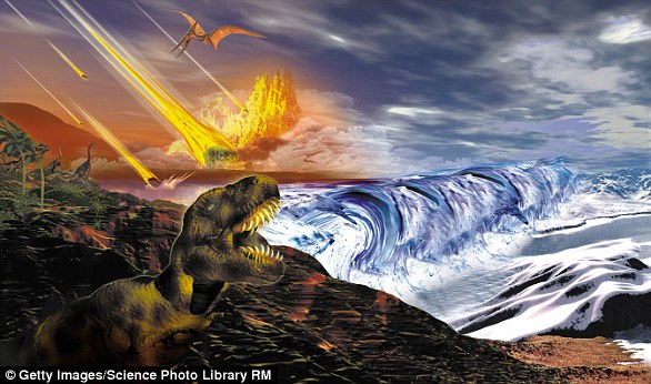 Five times, a vast majority of the world's life has been snuffed out in what have been called mass extinctions. The most famous may be the End-Cretaceous, which wiped out the dinosaurs. Artist's impression