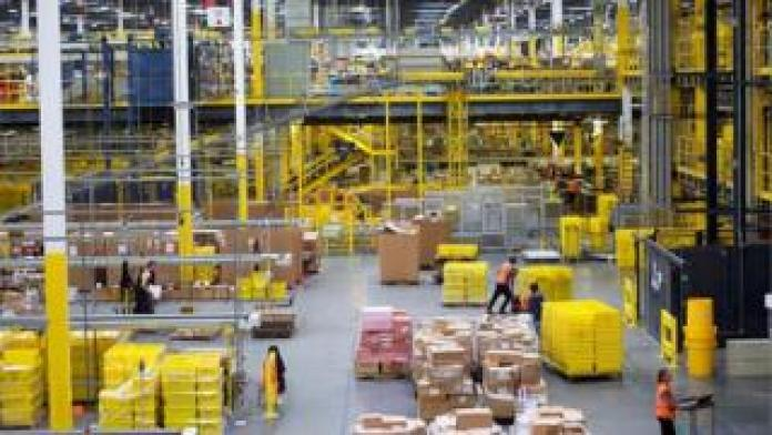 Workers at Amazon's Fulfillment Centre in Robbinsville, New Jersey