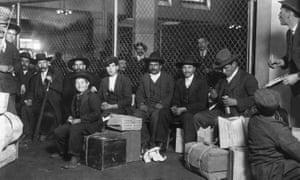 Italian arrivals at Ellis Island, New York, in 1905.