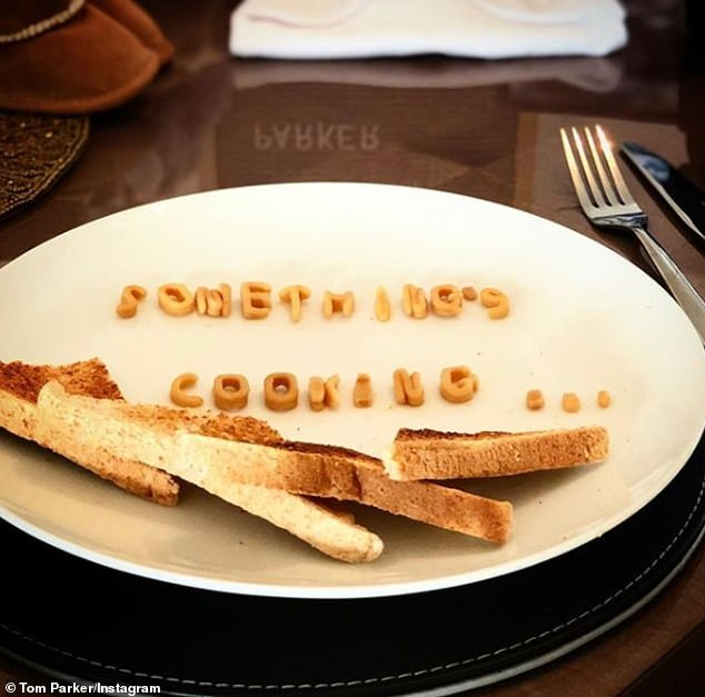 Bun in the oven: He first teased the news by sharing a picture of his dinner plate on Instagram, with the words 'Something's Cooking' spelled out in Alphabetti Spaghetti