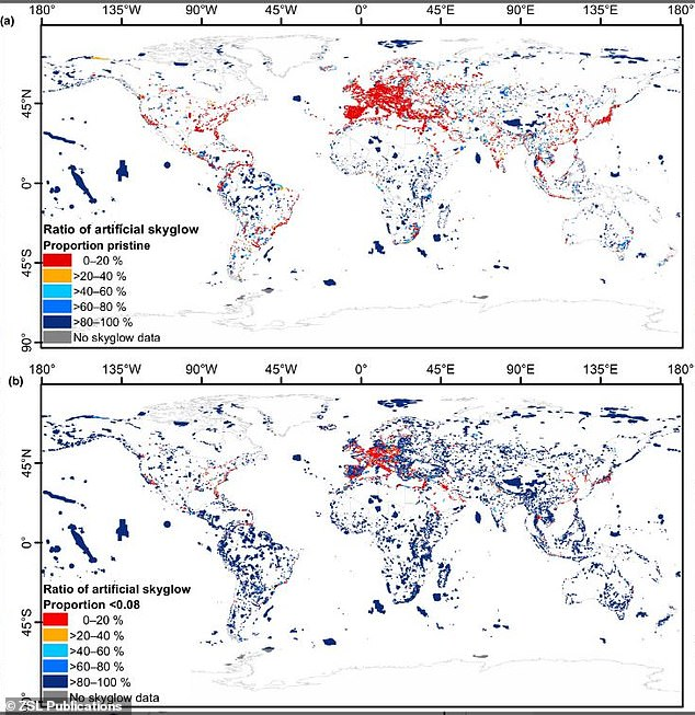 Light pollution is affecting the skies over more than half of our planet's key wildlife areas and is likely to increase, warns a new study. The map shows(a) pristine night‐time skies (ratio of artificial brightness to natural brightness ≤0.01) and (b) night‐time skies not polluted to the zenith (ratio of artificial brightness to natural brightness