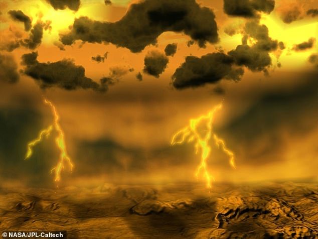 Gravity from the sun pulled on the planet's water and slowed down the spin of the planet until greenhouse gases formed thick clouds and heated the planet and turned it into the inhospitable world it is today (artist's impression of the surface of Venus)