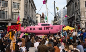 Extinction Rebellion protesters occupying Oxford Circus in London last week.