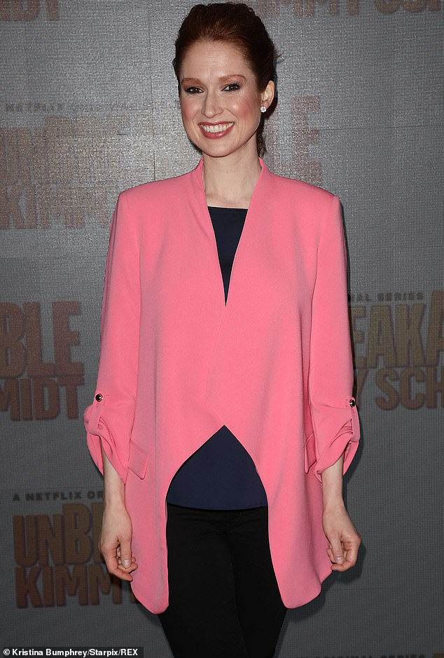 Ellie in pink: Ellie Kemper rocks a pink and black ensmeble