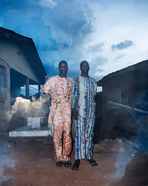 Brothers next to their home in the old city of Igbo-Ora.