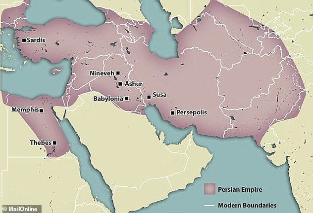 The excavation indicated two castles on the same site with the later castle which has 16 towers was built on an unfinished construction. The occupation of Egypt, which began in 525 BC extended the Persian Empire, shown in purple above from what is now Turkey to Afghanistan
