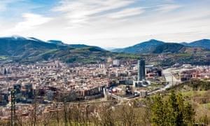 Panoramic View of the city of Bilbao, Spain. Viewed from Mount Artxanda