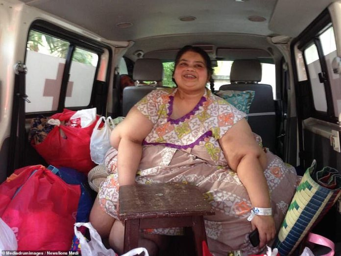 In an attempt to save her lifeRajani was offered stomach surgery and agreed to the procedure. It took 18 people to get her out of her house, and required an ambulance fitted with a sofa (pictured)