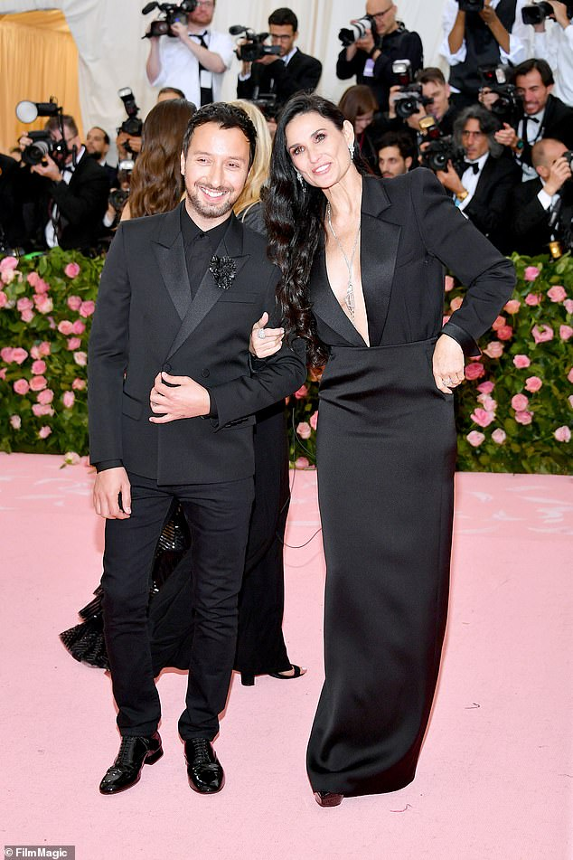 Still stunning: Here she was seen at the Met Gala in NYC earlier this month with Anthony Vaccarello
