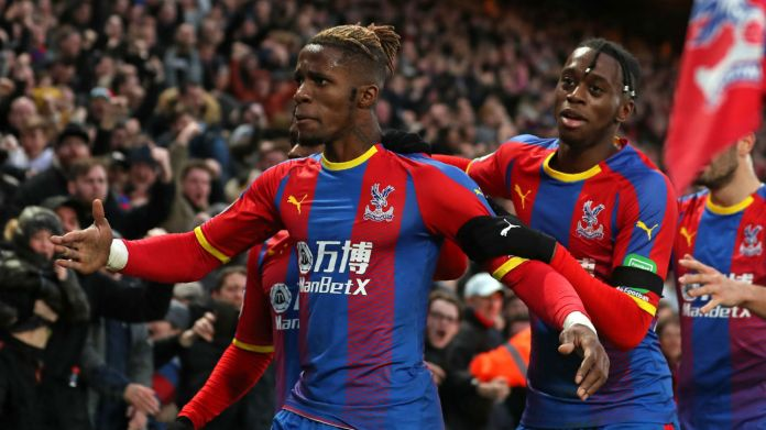 Crystal Palace forward Wilfried Zaha and right-back Aaron Wan-Bissaka