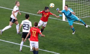 Germany's Almuth Schult does enough to put off Spain's Nahikari Garcia, who puts her header wide of the upright.