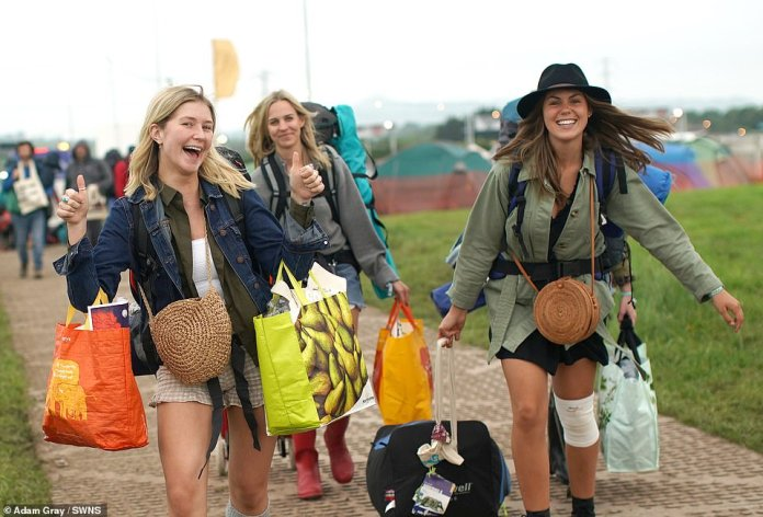 In Britain, temperatures are expected to reach 80F (27C) amid muggy conditions today before climbing further at the weekend when highs of 88F (31C) are possible. Revellers arriving at Glastonbury festival today were wearing boots after torrential heavy rain earlier this week - but their attire will likely change when temperatures climb on Saturday