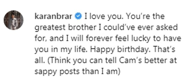 In May, his best friend and Jessie co-star Karan Brar, said he will 'forever feel lucky to have Cameron in his life' in a touching birthday tribute