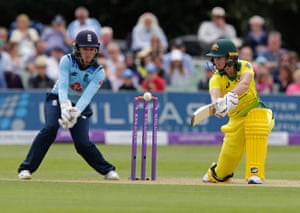 Alyssa Healy hits one to the boundary for four.