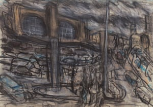 King's Cross Stormy Duo, No 4, 2004, charcoal and pastel on paper.