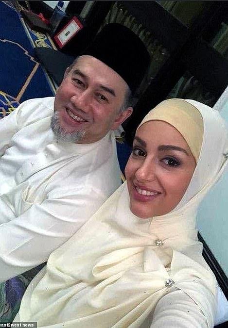 Malaysian king Sultan Muhammad V of Kelantan and his wife Oksana Voevodina