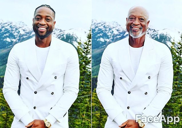 Dwyane Wade was among the celebrities to post his own fast-forward image using Faceapp with the caption 'Grandpa Wade huh.'