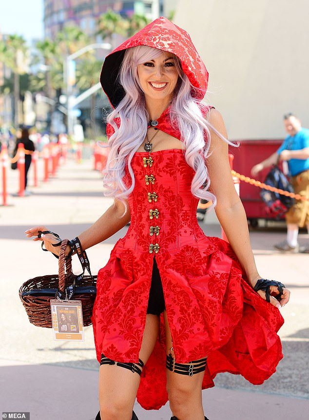 Cosplayer dresses as Little Red Riding Hood