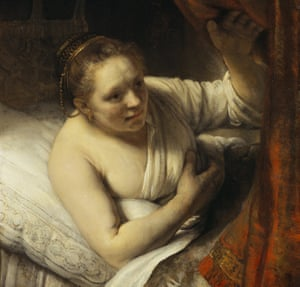 Detail of A Woman in Bed, circa 1647, by Rembrandt.