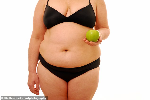 Women with apple-shaped figures are twice as likely to suffer heart attacks and strokes as pear-shaped women, a major study reveals (file photo)