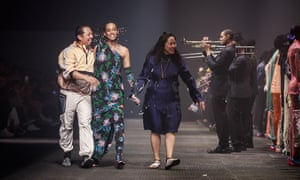 Solange Knowles on the catwalk with Humberto Leon and Carol Lim after their final show for Kenzo, June 2019.