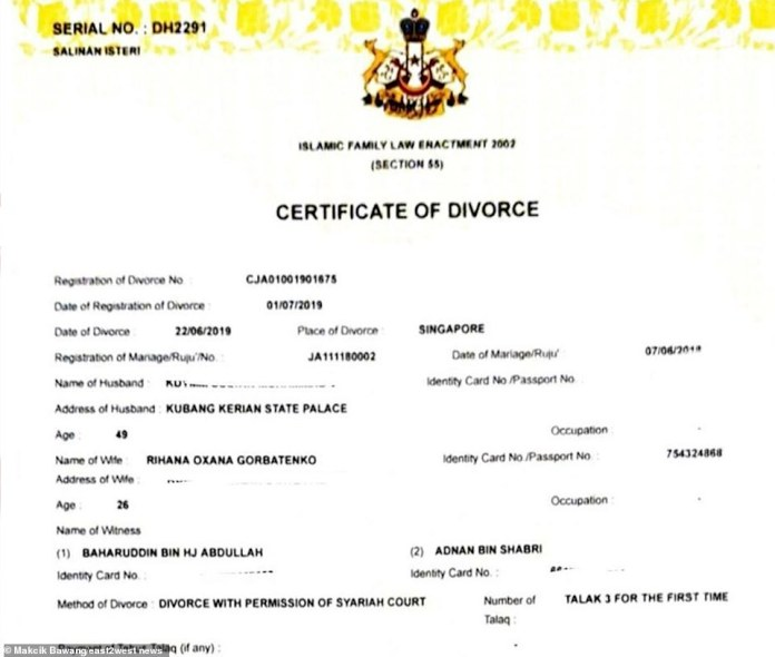 The certificate, bearing the Kelantan state crest, indicates that the divorce was done through the utterance of the word 'talak' three times - the most severe and irreversible form of divorce in Islam. It is in her original surname - Gorbatenko.