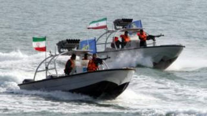 File photo showing Iranian Revolutionary Guards naval vessels during a ceremony near Bandar Abbas on 2 July 2012