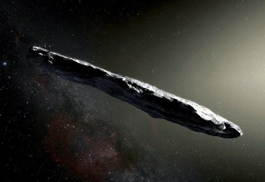 EMBARGOED until 1 July 2019 4pm BST (11:00 am ET) In this artist's concept, the interstellar object 'Oumuamua is depicted as a cigar-shaped body. A new analysis strongly suggests that 'Oumuamua has a natural origin and is not an alien spacecraft. See National News story NNalien. The first interstellar object to enter the solar system is not an alien spaceship but is still 'weird' and remains a mystery, astronomers said in a new study. It is the first known object to pass through solar system from outside, but experts have failed to explain where the object, called 'Oumuamua' came from. The mysterious cigar-shaped projectile - formally named the object 1I/2017 U1 - defies description with characteristics resembling both a comet and an asteroid. Oumuamua, Hawaiian for Scout??? , spins like a coke bottle and accelerates like a comet, but without the gas jets often seen trailing them.
