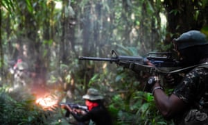 National Liberation Army (ELN) guerrillas, seen here in training in the Chocó jungle, have taken advantage of the power vacuum in Catatumbo since the peace deal.