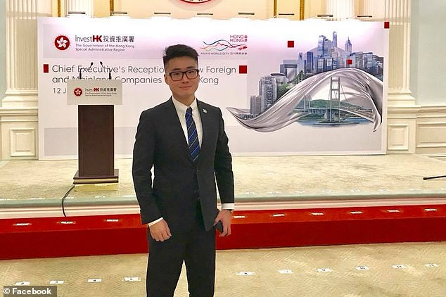 Simon Cheng Man-kit (pictured), who works at the British Consulate-General in Hong Kong, is feared to have been detained after failing to return a business trip to the mainland