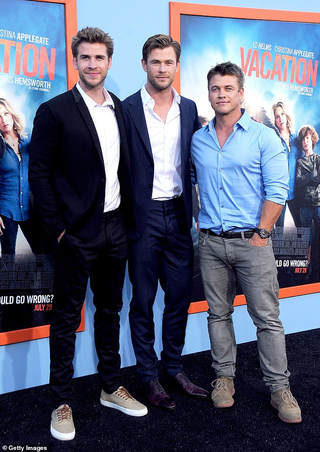 Concerned: Liam is the youngest member of the Hemsworth acting dynasty. Pictured with his brothers Chris (center) and Luke (right) on July 27, 2015 in Westwood, California