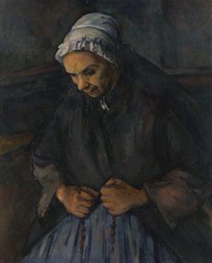 DE6N4A An Old Woman with a Rosary, c. 1895. Artist: Cezanne, Paul (1839-1906)