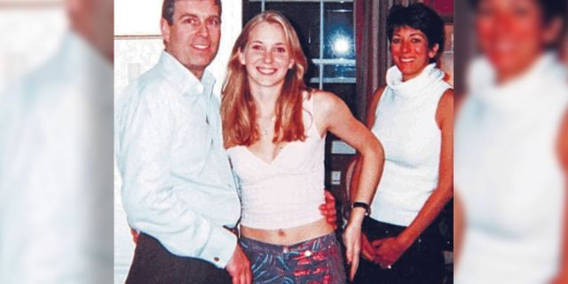 Photo from 2001 that was included in court files released last week shows Prince Andrew with his arm around the waist of 17-year-old Virginia Giuffre who says Jeffrey Epstein paid her to have sex with the prince. Andrew has denied the charges. In the background is Epstein's girlfriend Ghislaine Maxwell.
