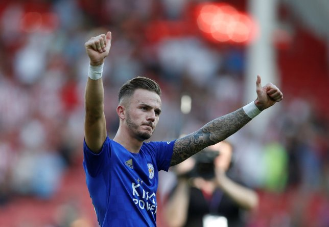 """Soccer Football - Premier League - Sheffield United v Leicester City - Bramall Lane, Sheffield, Britain - August 24, 2019 Leicester City's James Maddison celebrates after the match Action Images via Reuters/Ed Sykes EDITORIAL USE ONLY. No use with unauthorized audio, video, data, fixture lists, club/league logos or """"live"""" services. Online in-match use limited to 75 images, no video emulation. No use in betting, games or single club/league/player publications. Please contact your account representative for further details."""
