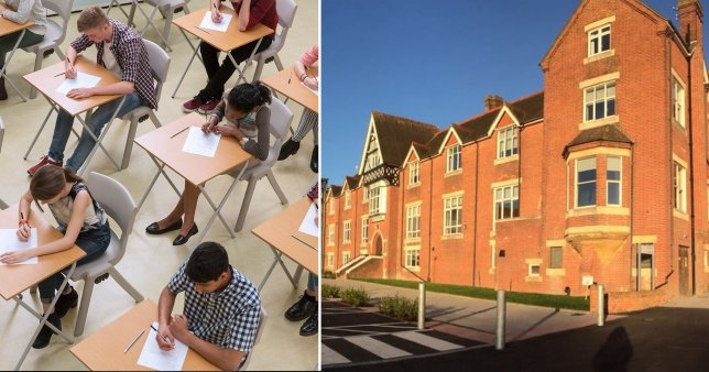 Picture of exam taking students and the school