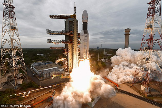 Launch: ISRO's Chandrayaan-2 being launched from the Satish Dhawan Space Centre in Sriharikota, an island off the coast of southern Andhra Pradesh state, on July 22