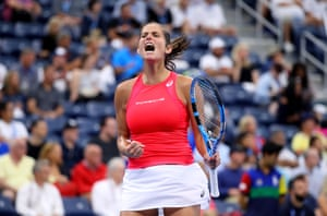 Julia Goerges celebrates after taking the first set.