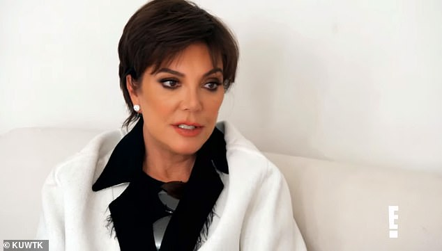 Worried:Her mom Kris Jenner is then seen talking on the couch with Kim; she tells her daughter: 'Stay positive until we get some results' while dabs away tears