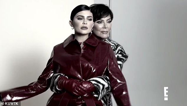 Pose: Kylie and Kris are pictured in the midst of their photoshoot for Harper's Bazaar Arabia