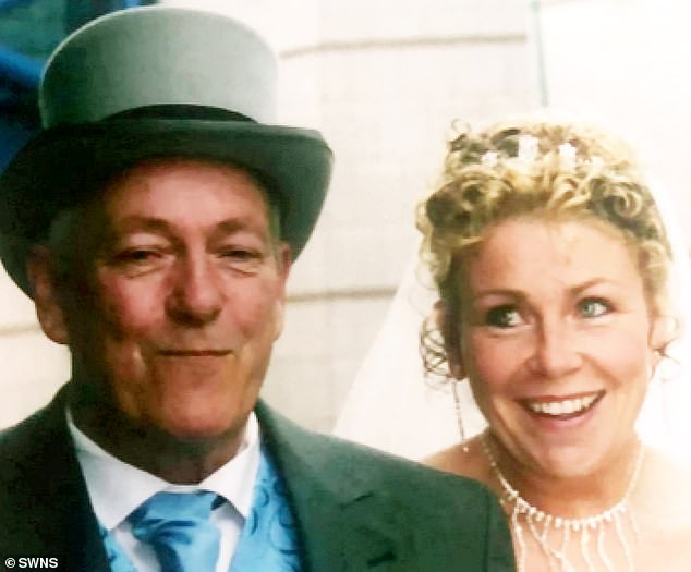 Mr Pearce and his daughter Karen, (pictured on her wedding day) claims his wife called the hospital to check on his progress and was led to believe he was having routine tests