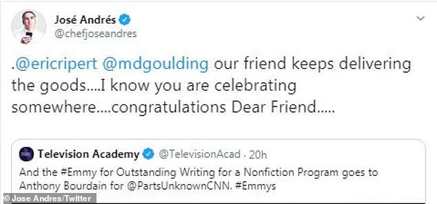 Still mourning: Chef Jose Andres tweeted, 'our friend keeps delivering the goods....I know you are celebrating somewhere....congratulations Dear Friend.....'