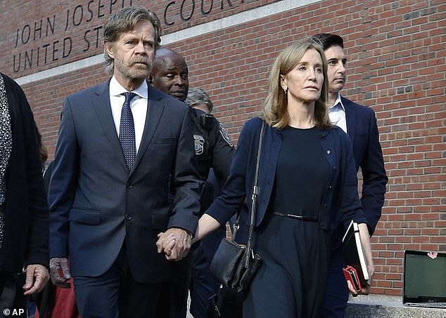 Her friend:This comes just after her DH co-star Felicity Huffman was sentenced to 14 days in prison for her involvement with the college admissions scandal; seen with William H Macy on Friday in Boston