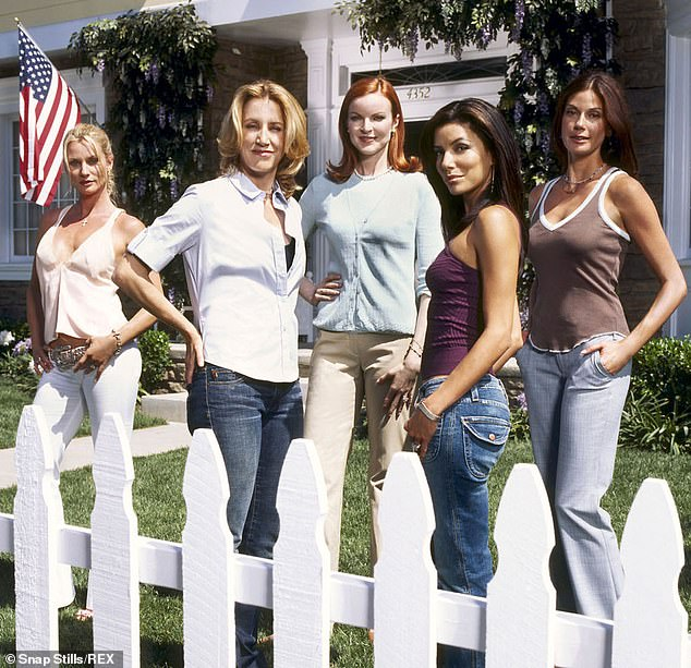 Back in the day: From left, Nicollette, Felicity, Marcia Cross, Eva Longoria and Teri Hatcher on Desperate Housewives in 2004
