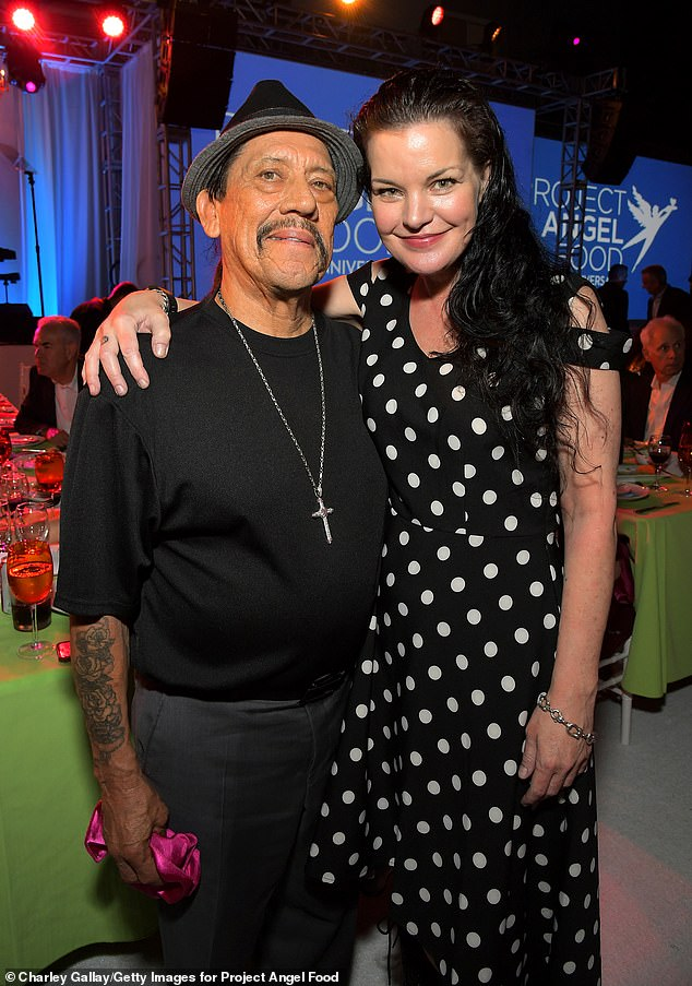 Talented twosome: NCIS alum Pauley Perrette donned a dotty dress and ditched her signature bangs as she posed with Dora and the Lost City of Gold star Danny Trejo