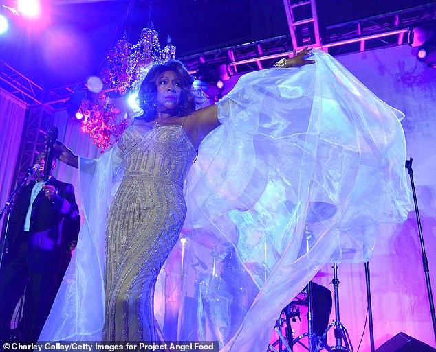 Werrrk!Two-time Grammy nominee Mary Wilson - who's a founding member of The Supremes - easily defied her 75 years in a sparkly gown and chiffon cape as she performed