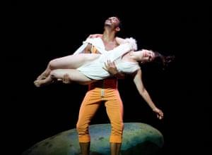 Virginie Caussin and Sergio Diaz in Snow White by Ballet Preljocaj at Sadler's Wells, London, in 2012.
