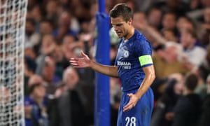 Cesar Azpilicueta of Chelsea reacts after a missed chance.